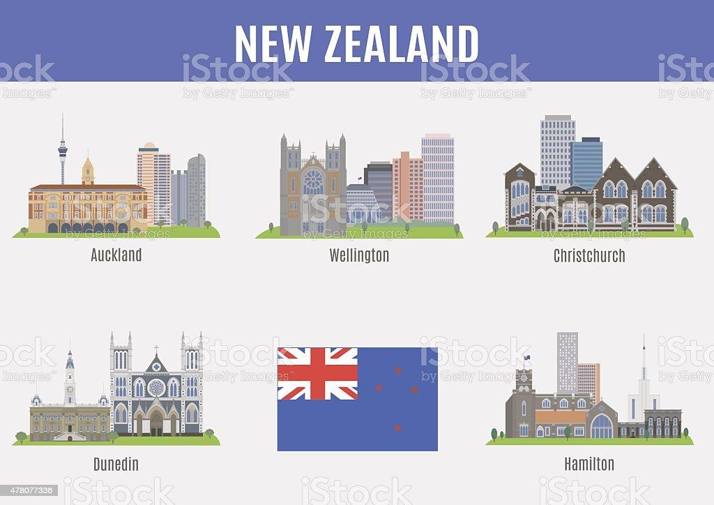 Cities in New Zealand vector art illustration