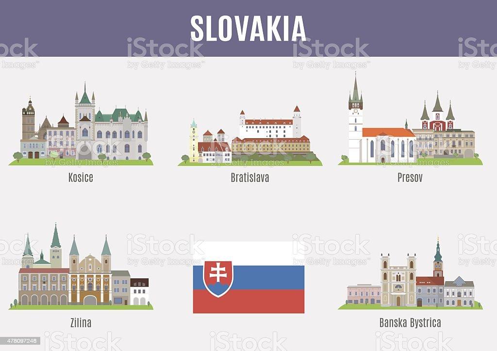 Cities in Slovakia vector art illustration