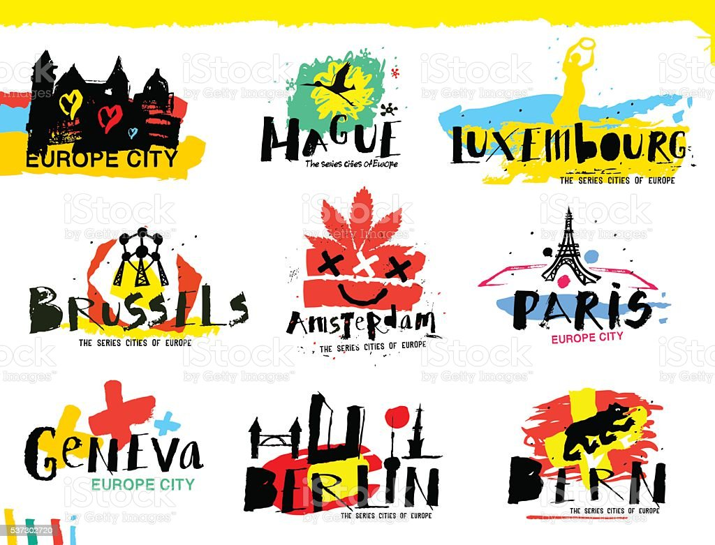 Cities of Europe illustrations. vector art illustration