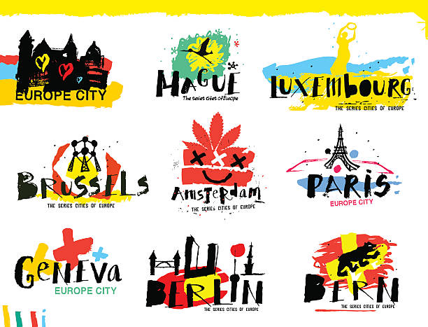 stockillustraties, clipart, cartoons en iconen met cities of europe illustrations. - den haag