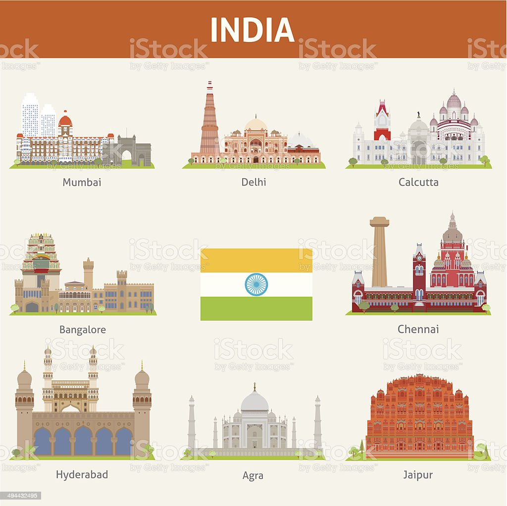 Cities of India vector art illustration