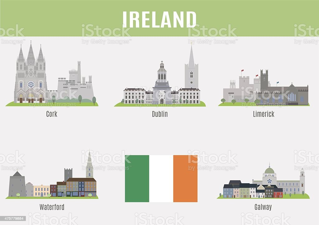 Cities of Ireland vector art illustration