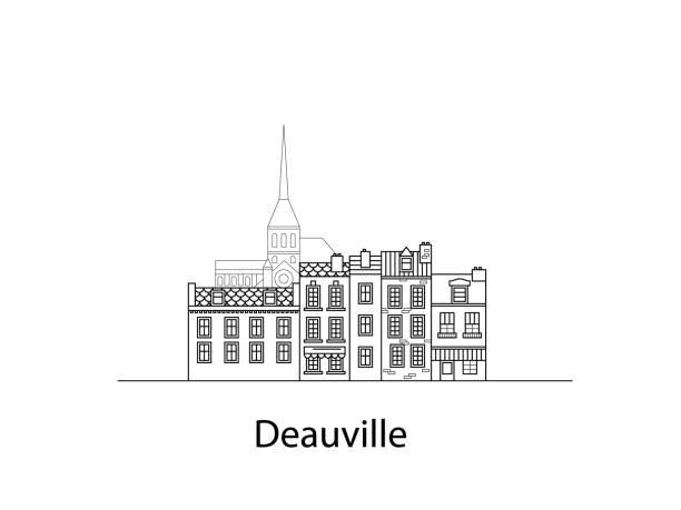 Städte der Normandie, Deauville. Europäischen Häusern. Verschiedene Größen und Konstruktionen. Alte Häuser von Europa flache Vektor in Linien – Vektorgrafik