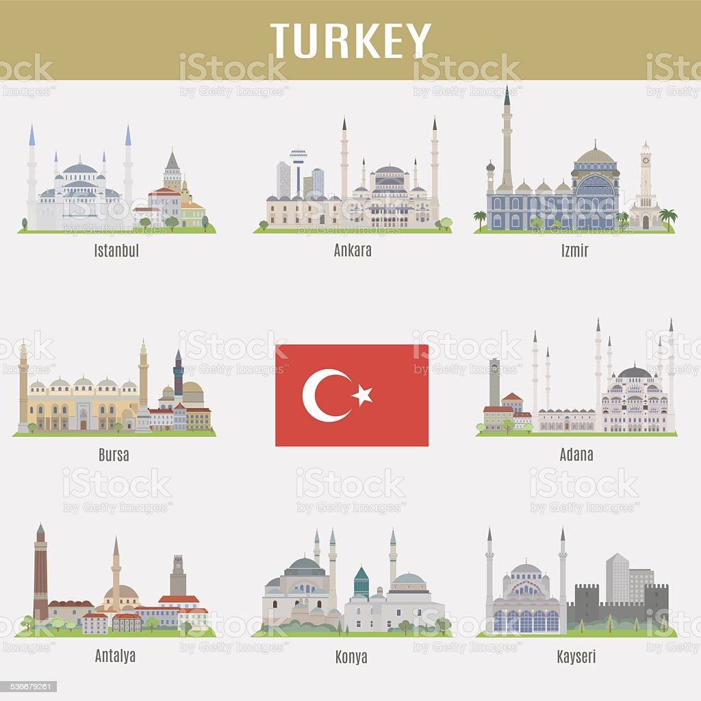 Cities of Turkey vektör sanat illüstrasyonu