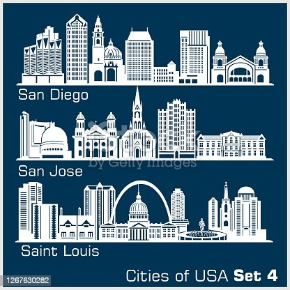 Cities of USA - San Diego, San Jose, Saint Louis. Detailed architecture. Trendy vector illustration, line art style. Isolated on dark background.