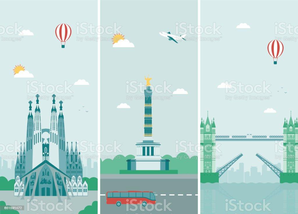 Diseño de siluetas de ciudades con monumentos. Londres, Berlín y Barcelona ciudades skylines diseño con puntos de referencia. Vector de - ilustración de arte vectorial