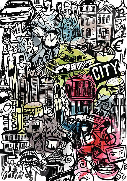 städte-styles - städtische mode stock-grafiken, -clipart, -cartoons und -symbole