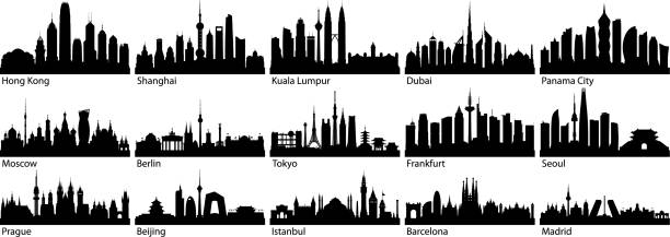 ilustrações de stock, clip art, desenhos animados e ícones de cities (all buildings are complete and moveable) - skyline