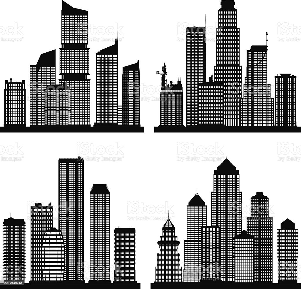 Cities (Complete Buildings Can Be Moved) vector art illustration