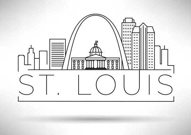 cities_line_skyline_master_6 - st louis stock illustrations