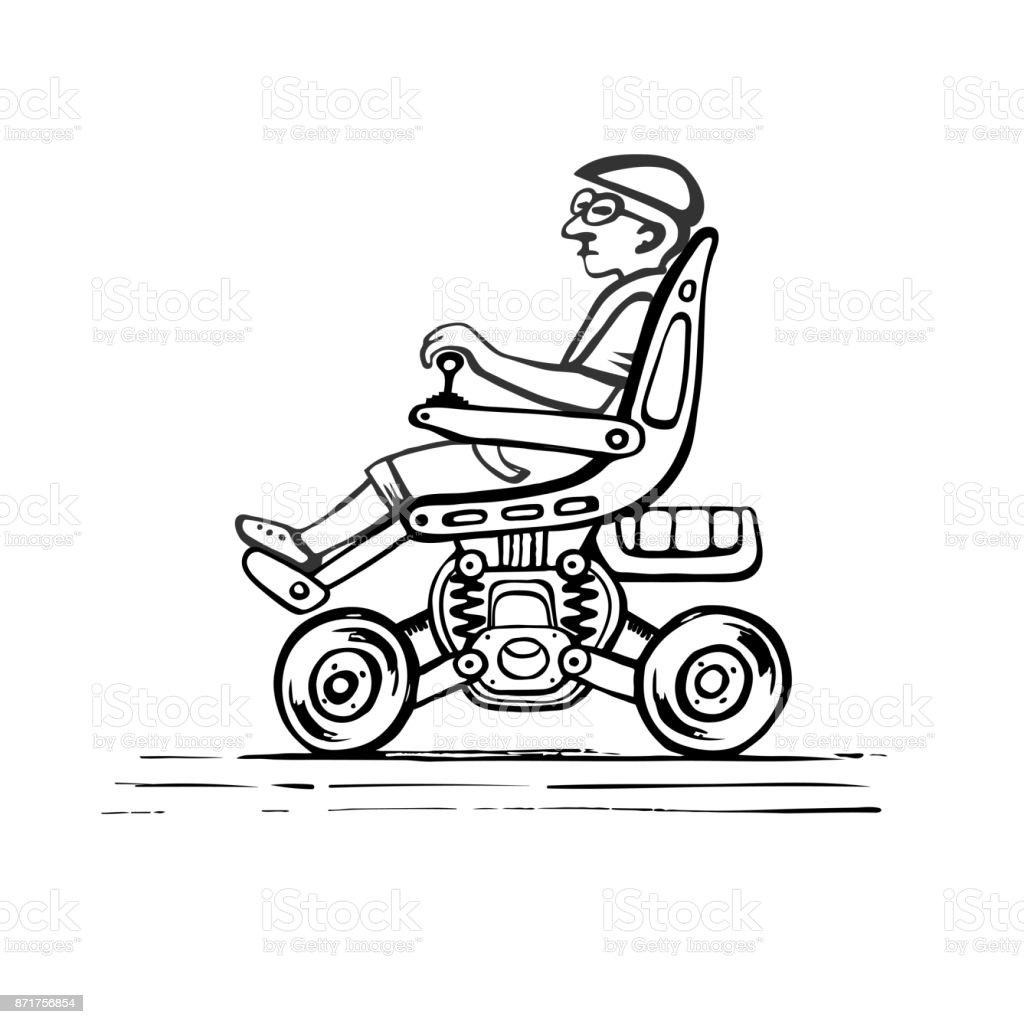 Citizen in an electric wheelchair vector art illustration