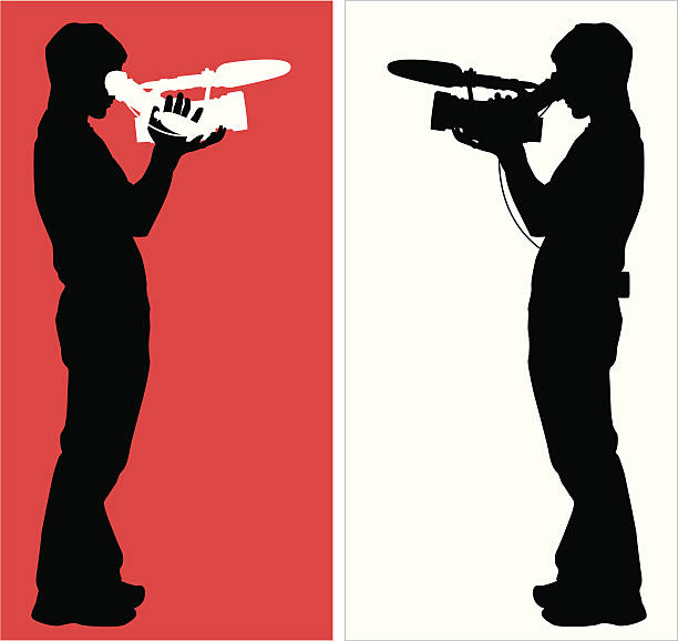 Citizen Journalist or Film Student ( Vector ) Man creating digital content. svg stock illustrations