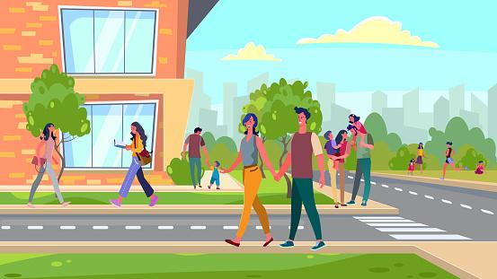 Citizens walking in suburb area