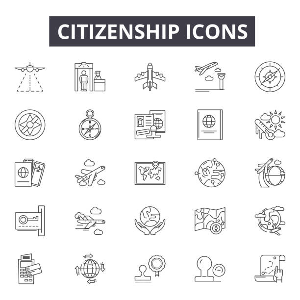 Citizenship line icons for web and mobile design. Editable stroke signs. Citizenship  outline concept illustrations Citizenship line icons for web and mobile. Editable stroke signs. Citizenship  outline concept illustrations deportation stock illustrations