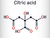 istock Citric acid molecule, alpha hydroxy acid, AHA. Is used as additive in food, cleaning agents, nutritional supplements. Skeletal chemical formula 1345329631