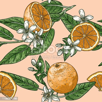 Repeating seamless pattern of oranges, orange slices, leaves and blossoms in a vintage retro style