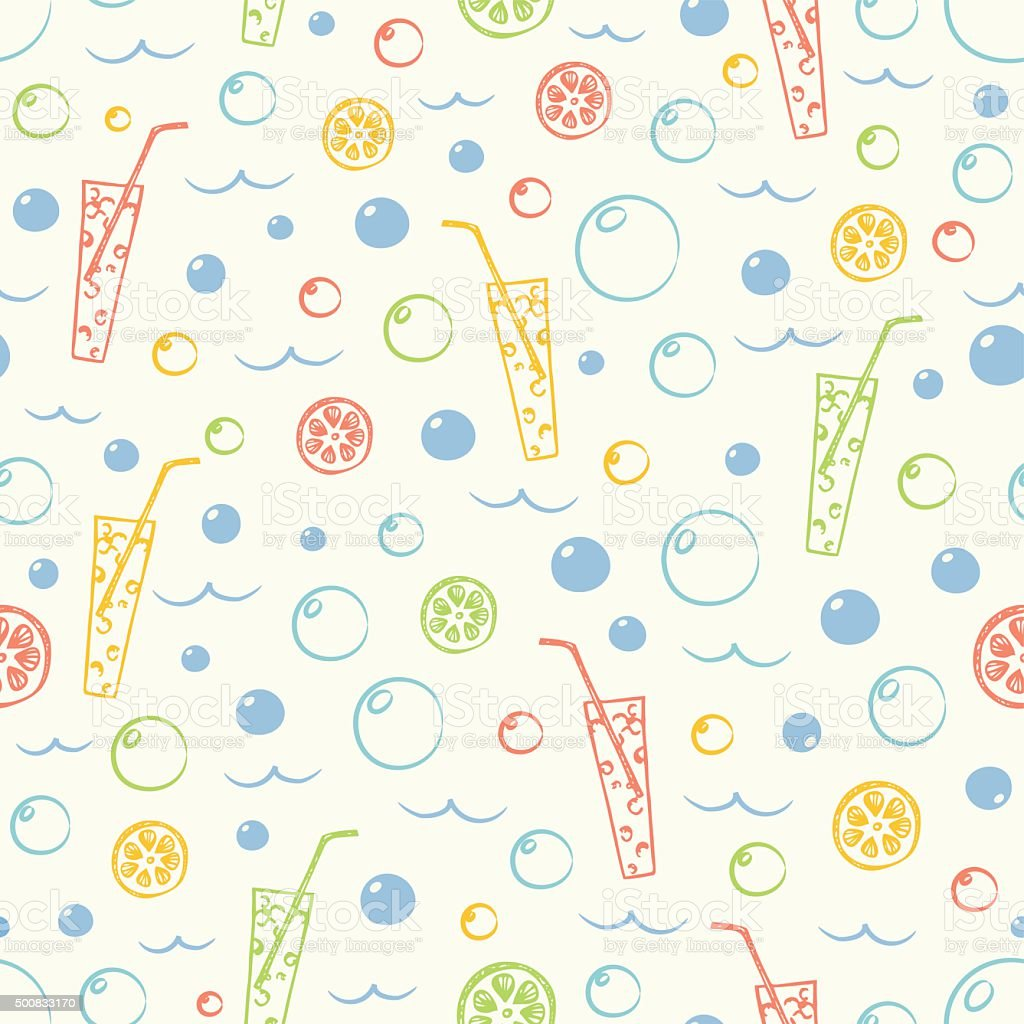 Citrus cocktail seamless pattern with water bubbles in vintage colors vector art illustration