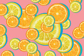 Vector illustration of summer citrus fruit slices including lemons and oranges