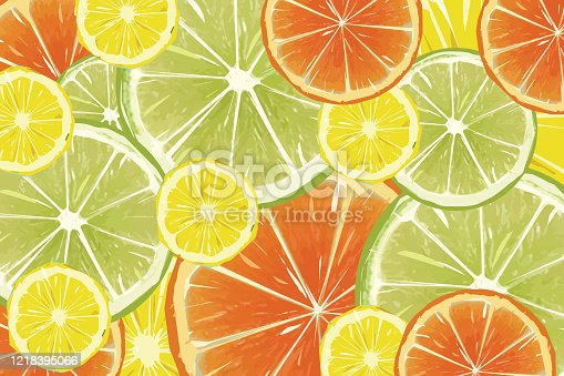 istock Citrus fruit background - lemons, oranges and limes stock illustration 1218395066