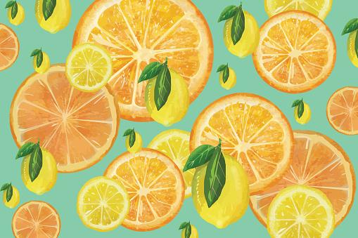 Citrus fruit background - slices of lemons and oranges stock illustration