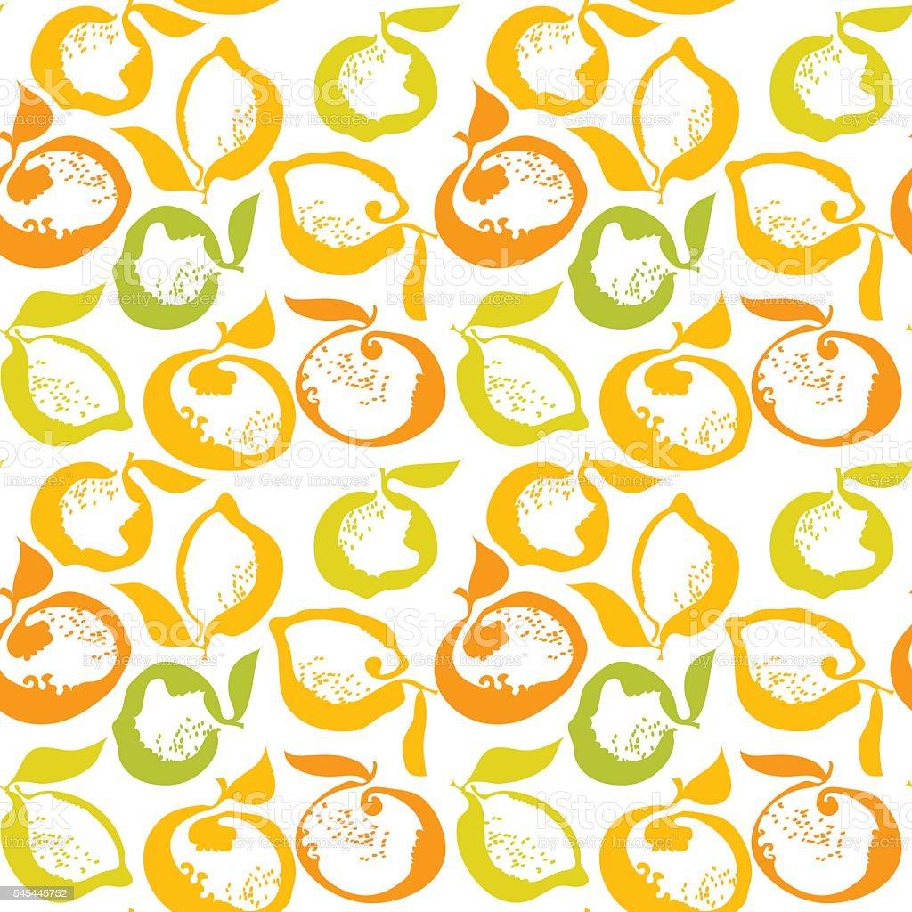 citrus fruit lemon and orange decorative pattern. vector illustr vector art illustration