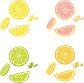 A set of citrus fruit slices: orange, lime, lemon and grapefruit. This is a seamless pattern with a white background. No gradients were used when creating this illustration.