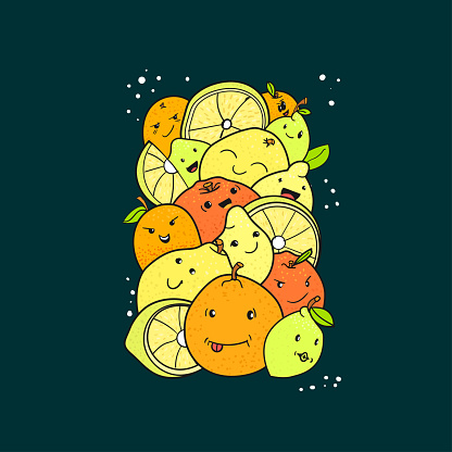 Citrus fruits characters vector doodle drawing, stylized lettering