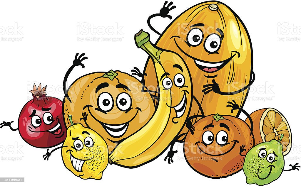 citrus fruits group cartoon illustration royalty-free stock vector art