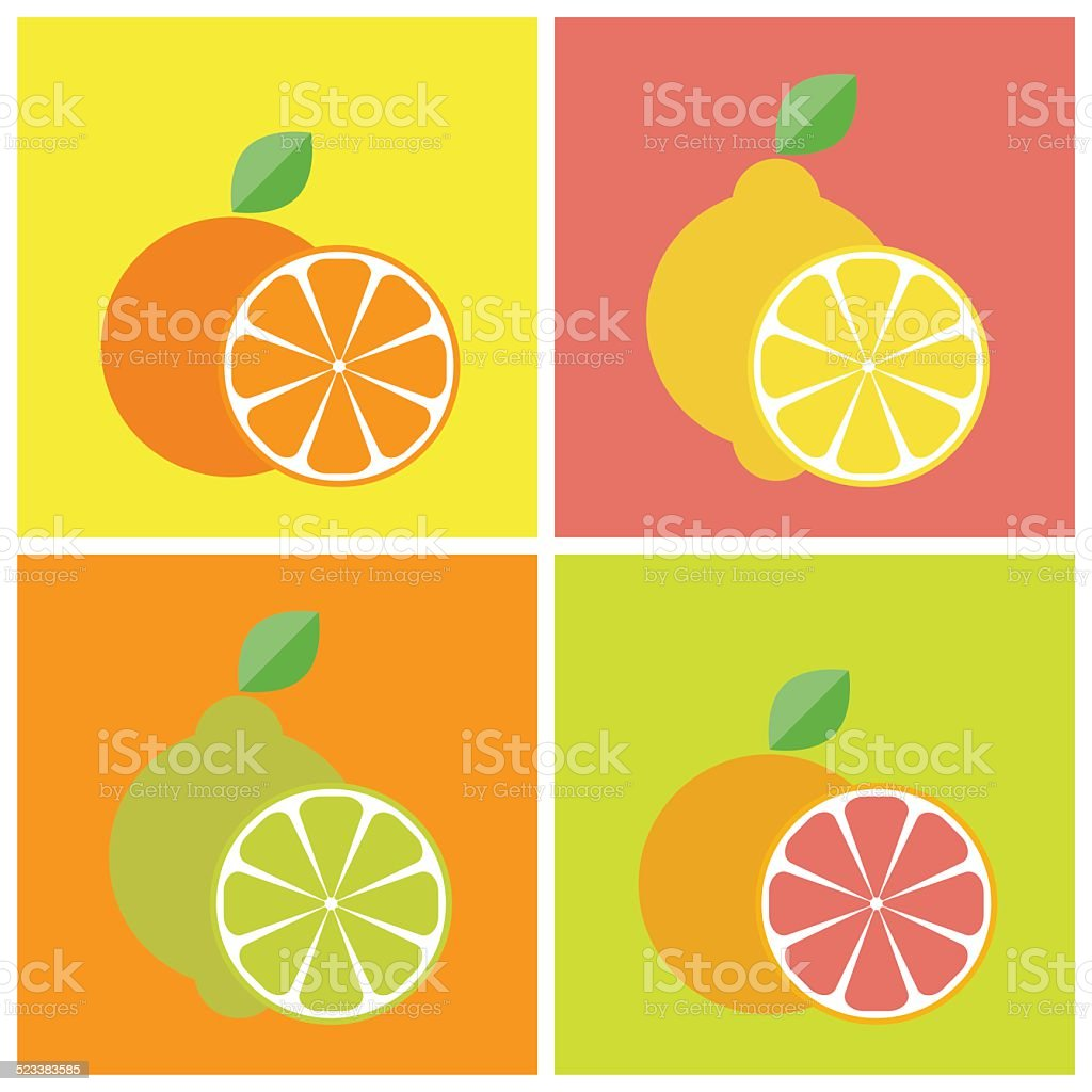 Citrus fruits icons vector art illustration