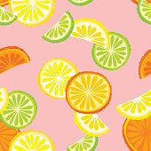 Orange, Limes and Lemons. Citrus fruits seamless pattern. Vector illustration.