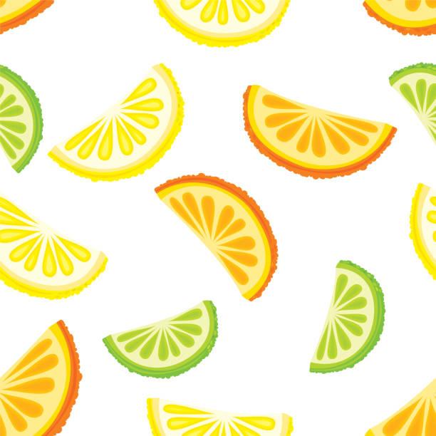 Citrus fruits seamless pattern vector art illustration