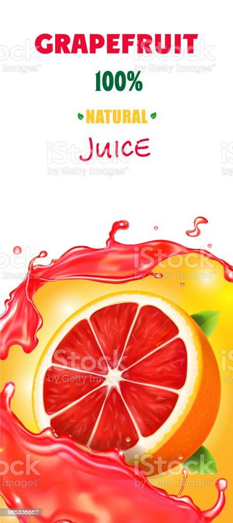 Citrus grapefruit vertical banner design of food packaging juice Realistic citrus grapefruit vertical banner design of food packaging juice realistic - stockowe grafiki wektorowe i więcej obrazów baner royalty-free