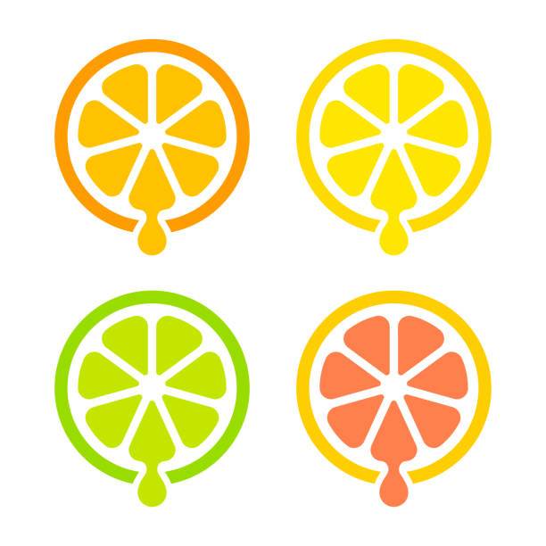 Citrus juice icon Modern and simple citrus juice icon set. Orange, lemon, lime and grapefruit. Isolated vector design. lemon fruit stock illustrations