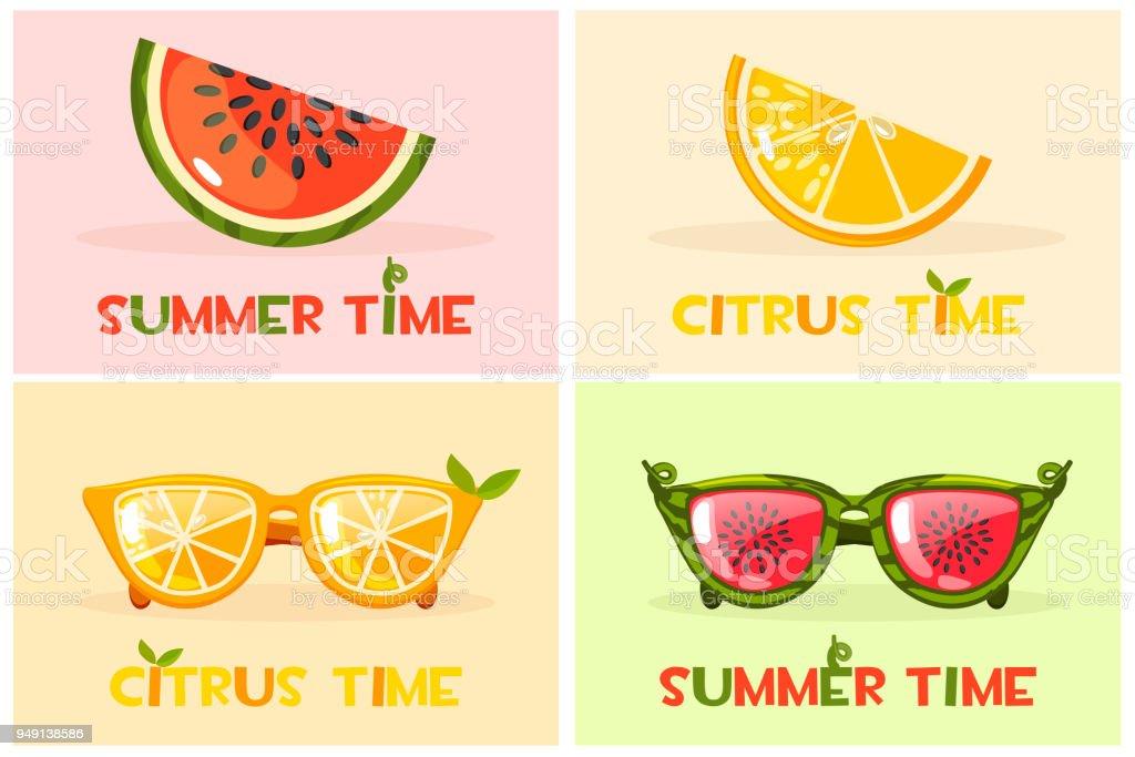 Ilustración de Cítricos Naranja Y Gafas De Sandía Vector Set Hola ...