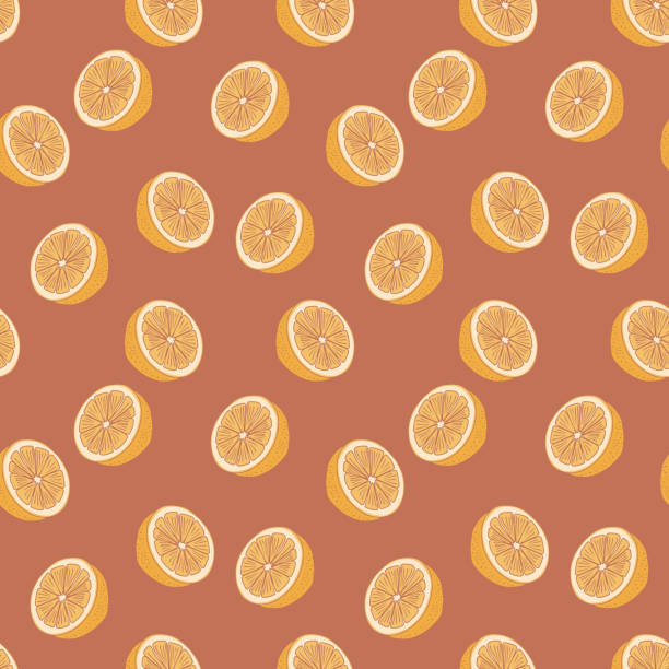Citrus pattern with vintage colorful hand drawn for summer and autumn season, Vector illustration for fashion wrapping and textile print. Citrus pattern with vintage colorful hand drawn for summer and autumn season, Vector illustration for fashion wrapping and textile print. coloring book pages templates stock illustrations