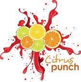 splashing color water with citrus ot lemon in front, suitable for drink or beverages.