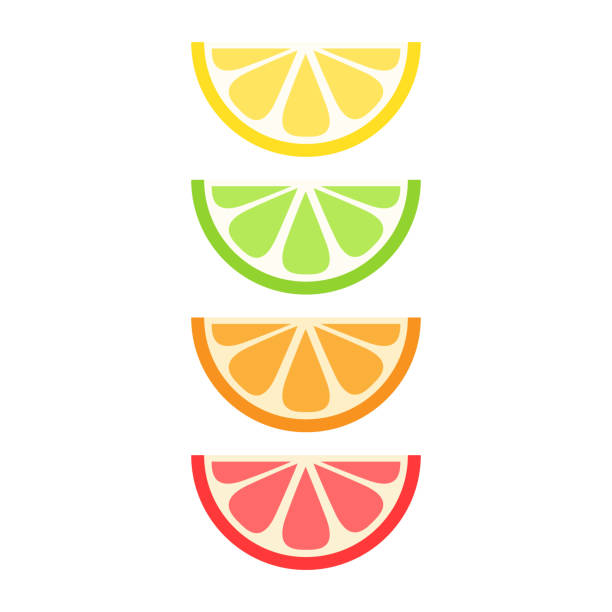 bildbanksillustrationer, clip art samt tecknat material och ikoner med citrus set - apelsin