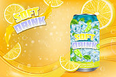 Soft drink advertising poster design template. Vector realistic aluminium can with label, lemon slices, citrus juice splashing and copy space.