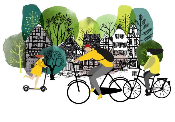 illustrazioni stock, clip art, cartoni animati e icone di tendenza di city activites. vector flat cartoon. watercolor vector illustration. - city walking background