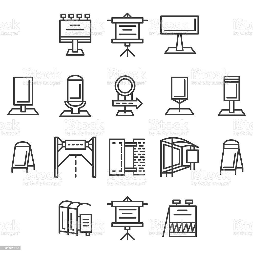 City advertisement flat line vector icons vector art illustration