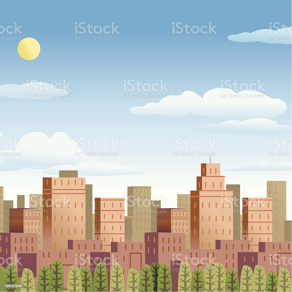 City and Country vector art illustration