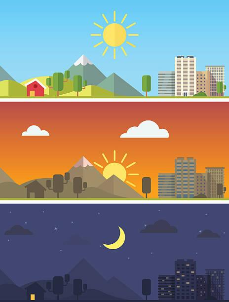 bildbanksillustrationer, clip art samt tecknat material och ikoner med city and landscape in different times of day - morgon