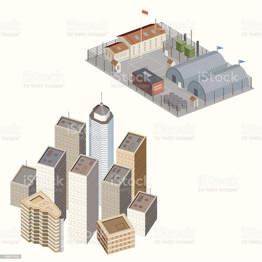 City and Military Base vector art illustration
