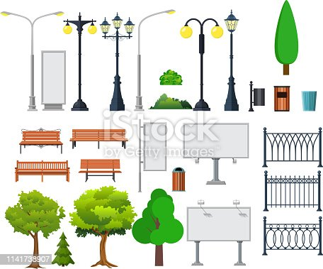 City and outdoor elements. Lamppost and container, bush and signboards. Vector illustration in flat style