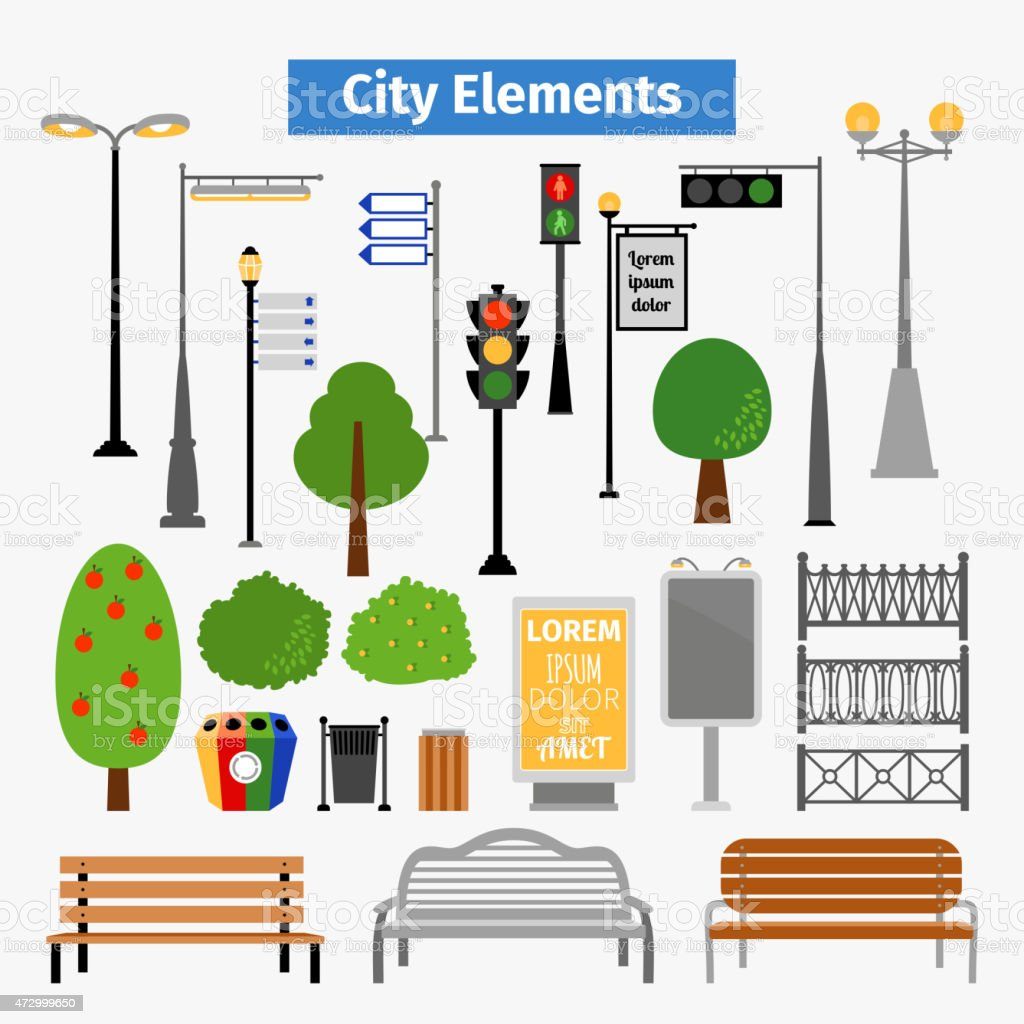 City and outdoor elements vector art illustration