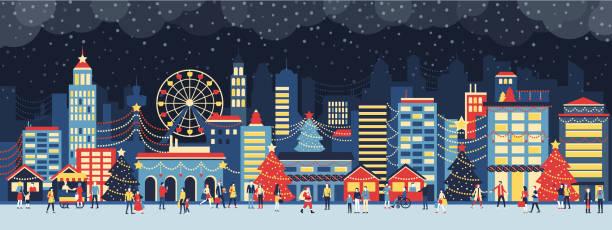 stockillustraties, clipart, cartoons en iconen met stad en mensen met kerstmis - christmas family