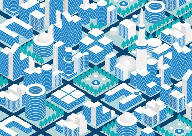stadt und straße, vektor-illustration - smart city stock-grafiken, -clipart, -cartoons und -symbole
