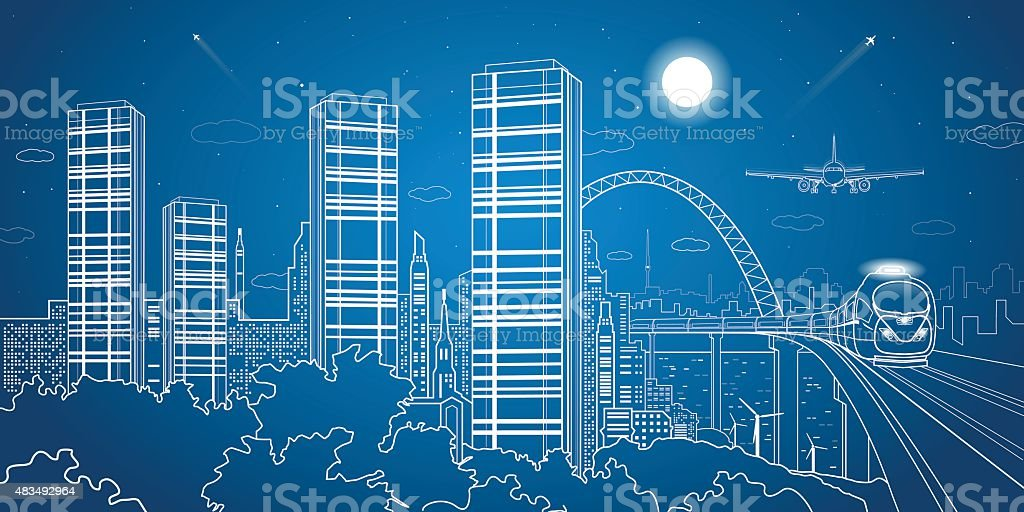 City and transport illustration, night town vector art illustration
