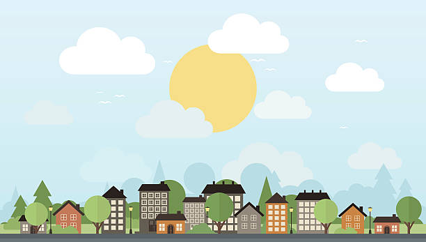 도시 및 나무 - suburbs stock illustrations