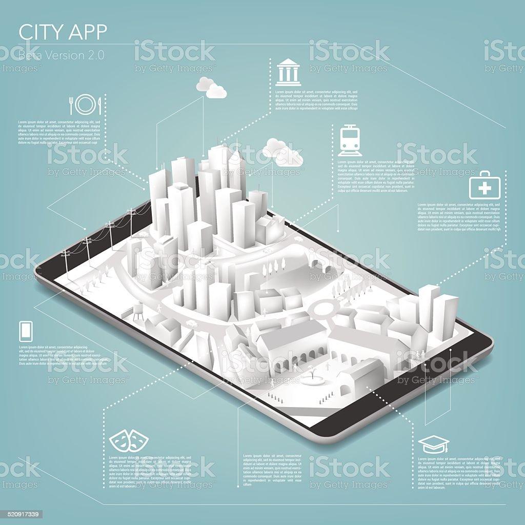 City app on tablet vector art illustration